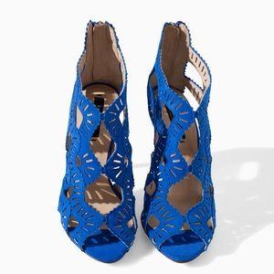 Zara Shoes - Royal Blue Zara Suede High Heels